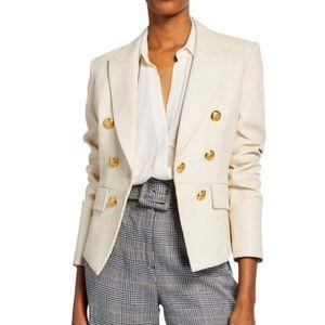 Veronica Beard Ivory Cooke Leather Jacket Blazer